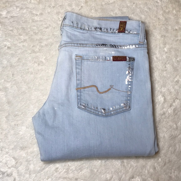 SEVEN FOR ALL MANKIND WOMENS ROXANNE W// METALLIC PAINT SKINNY JEANS SIZE 27 NEW